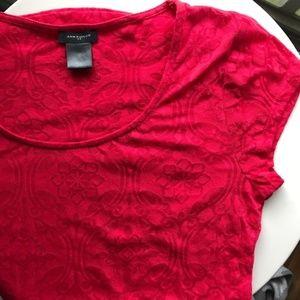 Ann Taylor Red Burnout Shirt XS